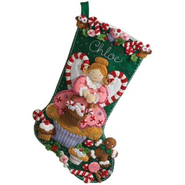 Cupcake Angel Stocking Felt Applique Kit