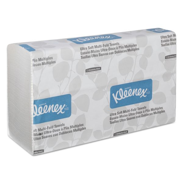 Kleenex Ultra Soft Multi-Fold Towels, 2Ply, White, 9 1/4x9 1/2, 150/Pack, 16 Pack/Carton