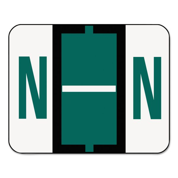 Smead A-Z Color-Coded Bar-Style End Tab Labels, Letter N, Dark Green, 500/Roll