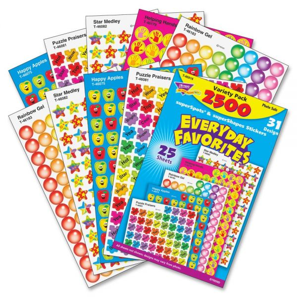 Trend Everyday Favorites superSpots & superShapes Stickers Variety Pack