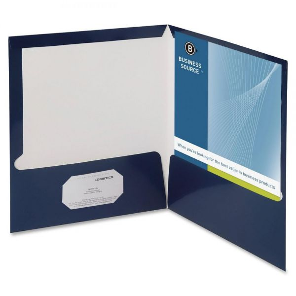 Business Source Laminated Navy Two Pocket Folders