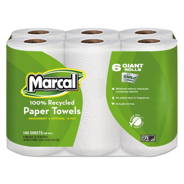 Marcal 100% Recycled Roll Paper Towels, 5 1/2 x 11, 2-Ply, White, 140 Sheets/Roll, 24 Rolls/Carton