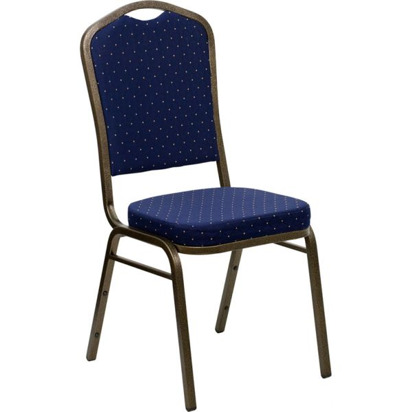 Flash Furniture HERCULES Series Crown Back Stacking Banquet Chair with Navy Blue Patterned Fabric and 2.5'' Thick Seat - Gold Vein Frame