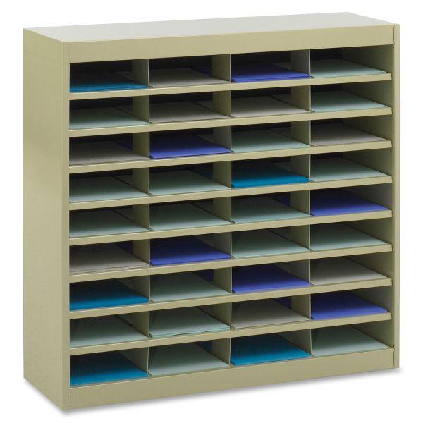 Safco Steel/Fiberboard E-Z Stor Sorter, 36 Sections, 37 1/2 x 12 3/4 x 36 1/2, Sand
