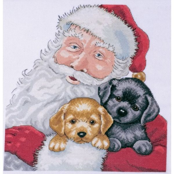 Santa With Puppies Counted Cross Stitch Kit