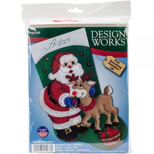 Santa & Deer Stocking Felt Applique Kit