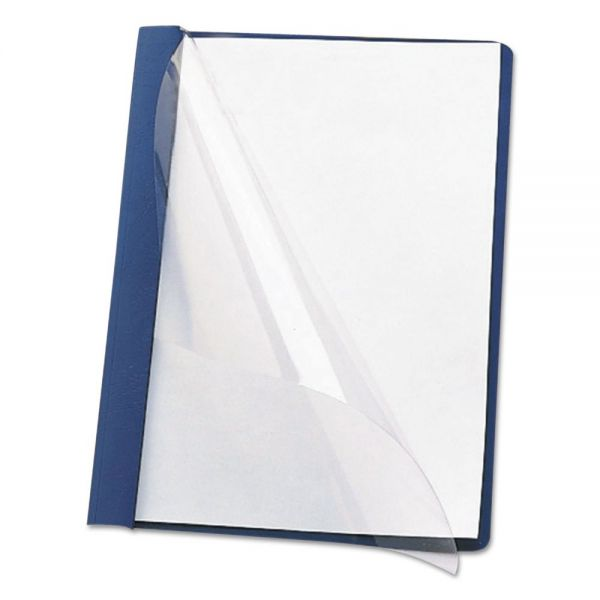 """Smead Poly Report Cover, Tang Clip, Letter, 1/2"""" Capacity, Clear/Dark Blue, 25/Box"""