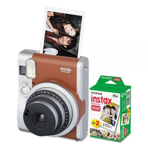 Fujifilm Instax Mini 90 Neo Classic Camera Bundle, Auto Focus, Brown