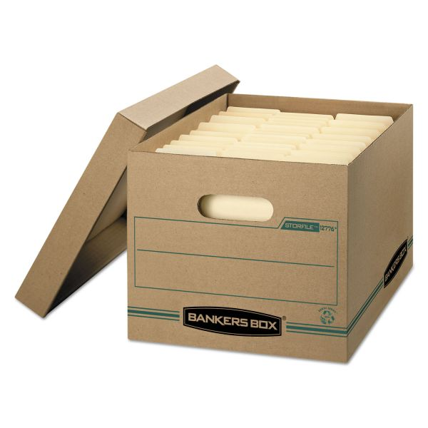 Bankers Box STOR/FILE Storage Box, Letter/Legal, Lift-off Lid, Kraft/Green, 12/Carton