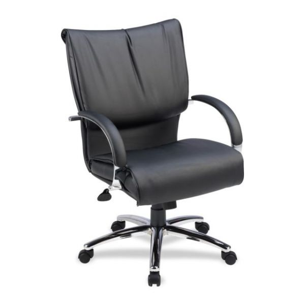 Lorell Mid-Back Dacron-Filled Cushion Leather Management Office Chair