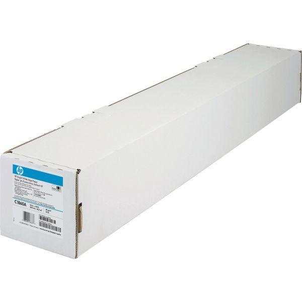 """HP Designjet Bright White Inkjet Paper, 4.7 mil, 24"""" x 150 ft, White"""