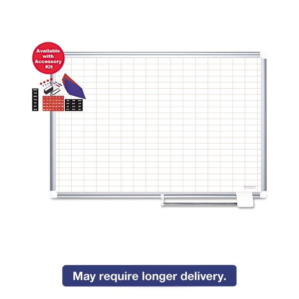 "MasterVision MasterVision Grid Platinum Plus Dry Erase, 1x2"" Grid, 48x72, Silver Frame"