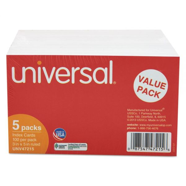 "Universal 3"" x 5"" Ruled Index Cards"