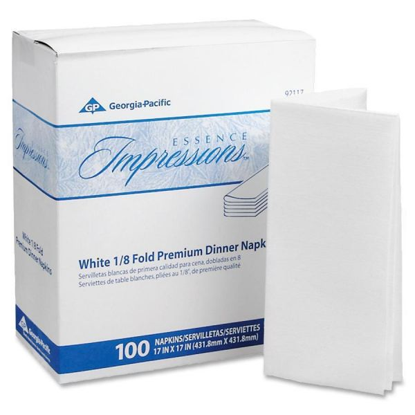 Georgia Pacific Professional Essence Impressions 1/8-Fold Dinner Napkins, Two-Ply, 17 x 17, White