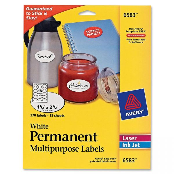 Avery Permanent Oval Multipurpose Labels