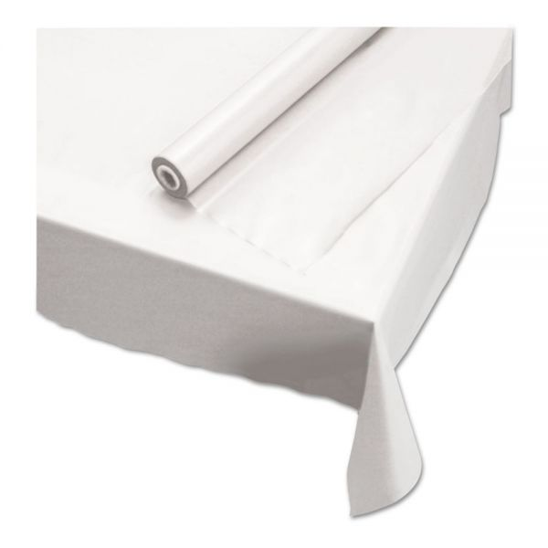 """Hoffmaster Plastic Roll Tablecover, 40"""" x 100 ft, White"""
