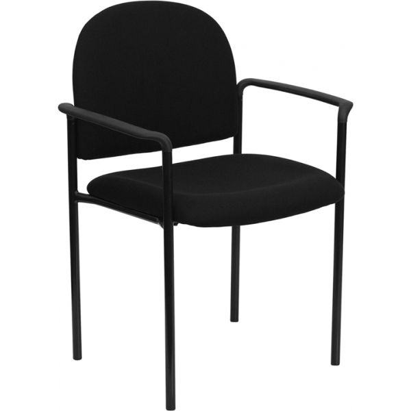 Flash Furniture Black Fabric Comfortable Stackable Steel Side Chair with Arms