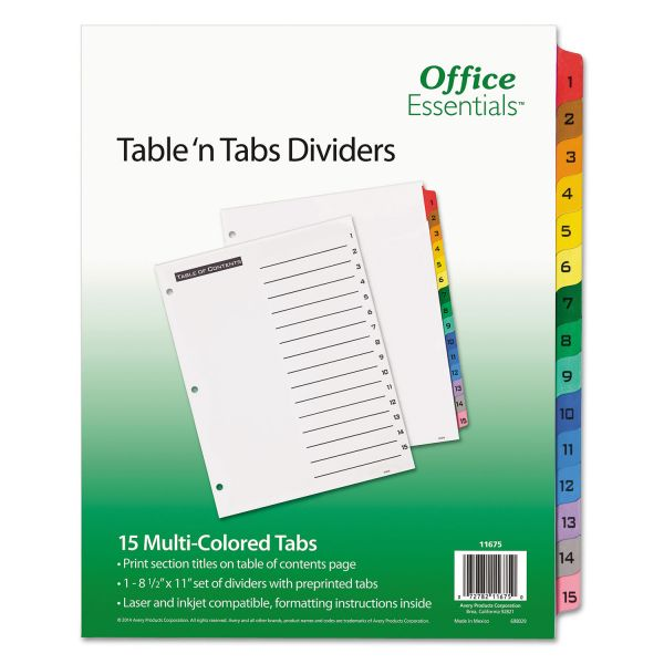 Office Essentials Table 'N Tabs Numbered Dividers