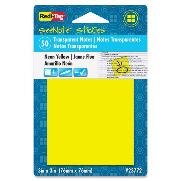 "Redi-Tag 3"" x 3"" Transparent Adhesive Note Pad"