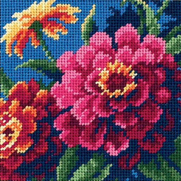 Zinnias Mini Needlepoint Kit