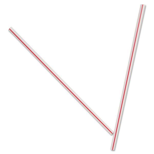 """Dixie Unwrapped Hollow Stir-Straws, 5"""", Plastic, White/Red, 1000/Box, 10 Boxes/Carton"""