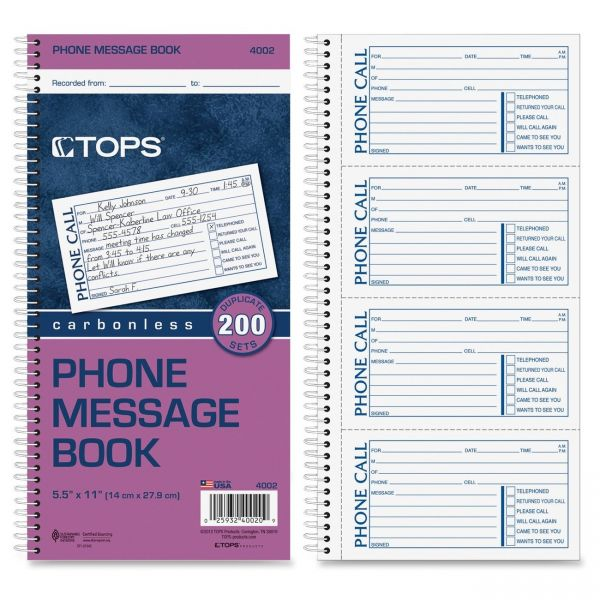 TOPS Phone Message Book