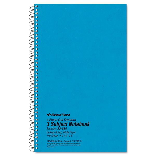 National 3 Subject Wirebound Notebook, College Rule, 9 1/2 x 6, White, 150 Sheets