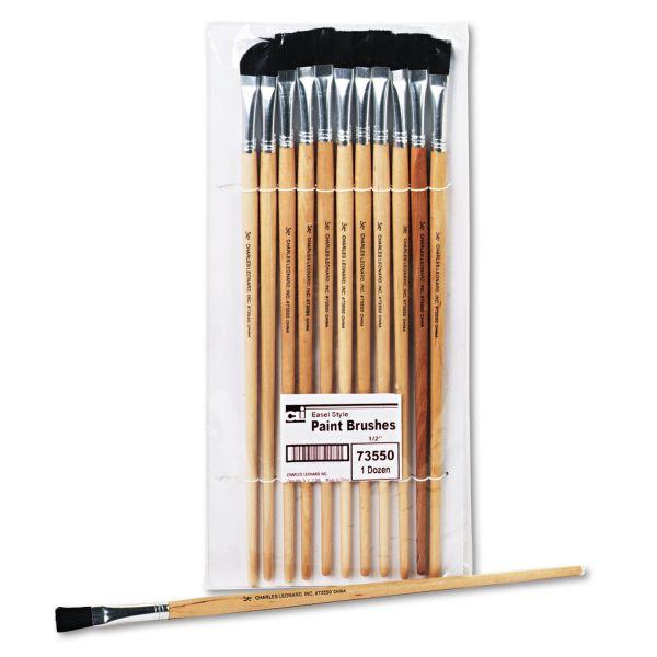 Charles Leonard Long Handle Easel Brush, Size 12, Natural Bristle, Flat, 12/Pack