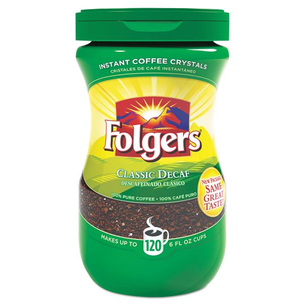 Folgers Instant Coffee Crystals, Decaf Classic, 10.65 oz
