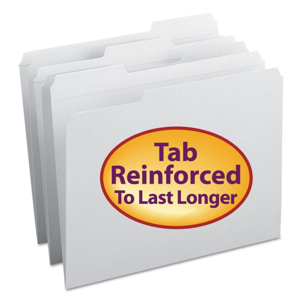 Smead File Folders, 1/3 Cut, Reinforced Top Tab, Letter, White, 100/Box