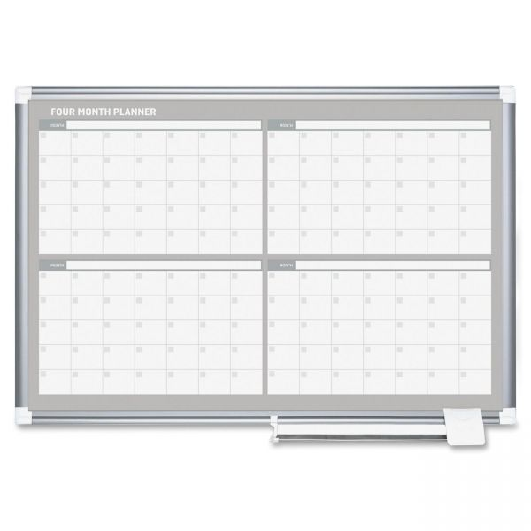 MasterVision 4 Month Planner, 36x24, Aluminum Frame