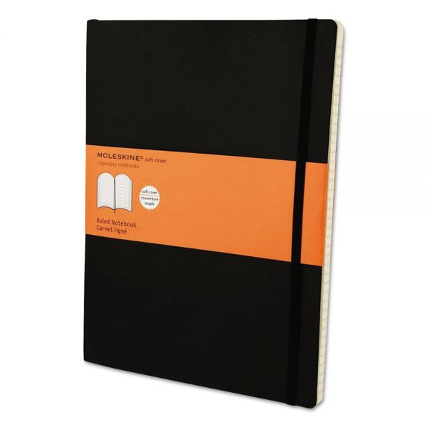 Moleskine Classic Softcover Notebook, Ruled, 10 x 7 1/2, Black Cover, 192 Sheets