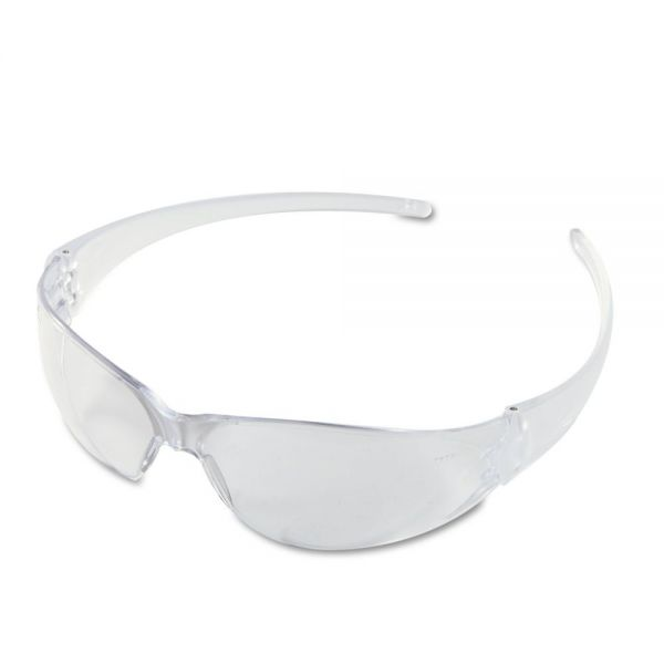 MCR Safety Checkmate Wraparound Safety Glasses, CLR Polycarbonate Frame, Coated Clear Lens