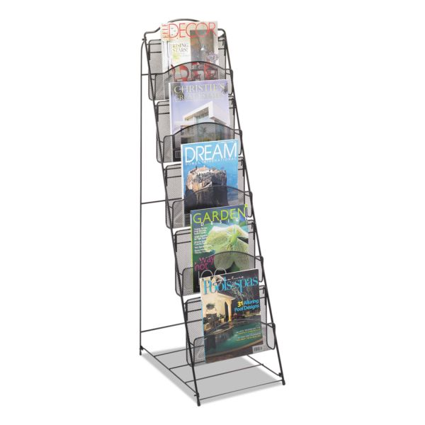 Safco Onyx Magazine Floor Rack, 12-1/2w x 18-1/2d x 46h, Black