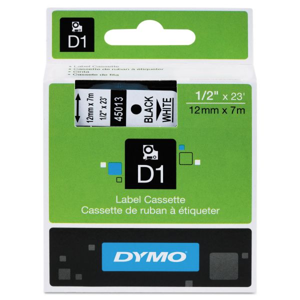 """DYMO D1 High-Performance Polyester Removable Label Tape, 1/2"""" x 23 ft, Black on White"""