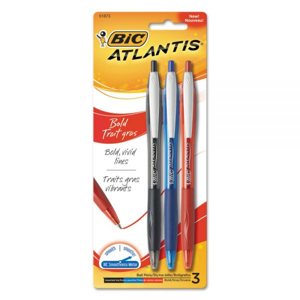 BIC Atlantis Bold Retractable Ball Pen, Assorted Ink, 3/Pack