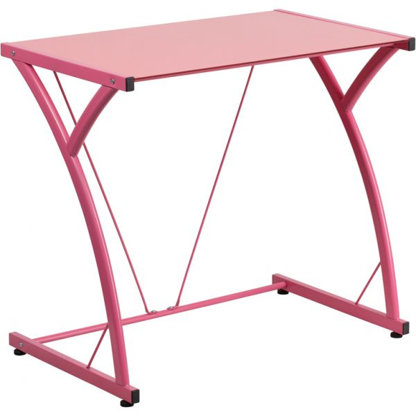Flash Furniture Contemporary Tempered Pink Glass Computer Desk with Matching Frame