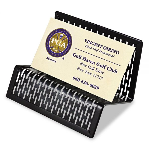 Artistic Urban Collection Punched Metal Business Card Holder, Holds 50 2 x 3 1/2, Black