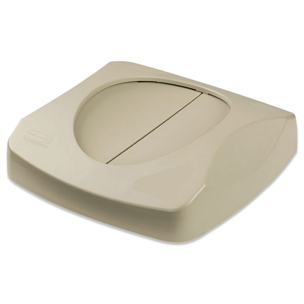 """Rubbermaid Commercial Swing Top Lid for Untouchable Recycling Center, 16"""" Square, Beige"""