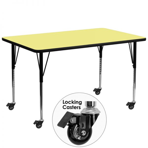 Flash Furniture Mobile 30''W x 72''L Rectangular Activity Table with Yellow Thermal Fused Laminate Top and Standard Height Adjustable Legs