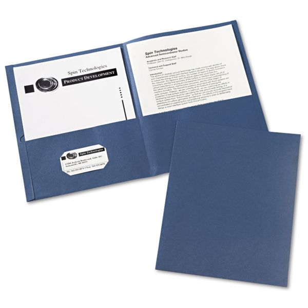 Avery Two-Pocket Folder, 40-Sheet Capacity, Dark Blue, Embossed Paper, 25/Box