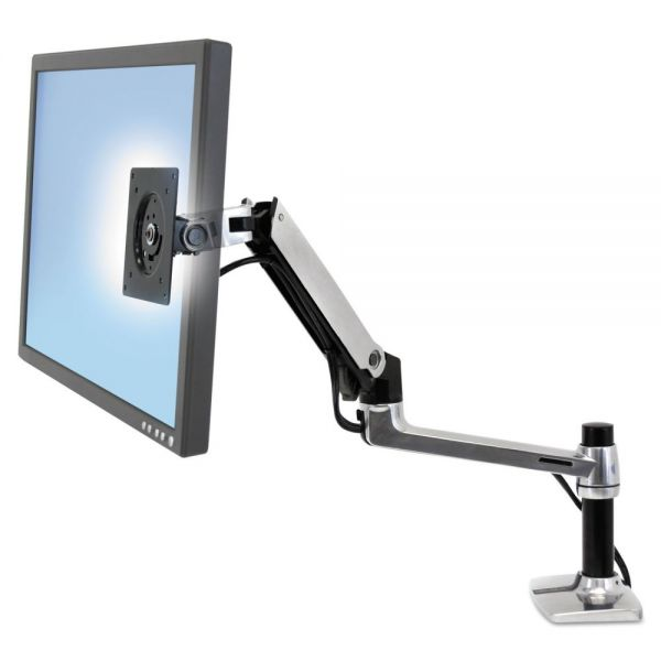 Ergotron LX Series LCD Arm, Desk Mount, Polished Aluminum/Black
