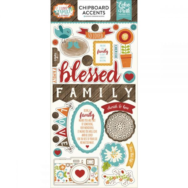 """I Love Family Chipboard Accents 6""""X13"""""""