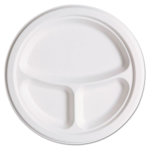 """Eco-Products 10"""" Bagasse Compartment Plates"""