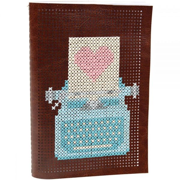 Faux Leather Journal Punched For Cross Stitch Kit