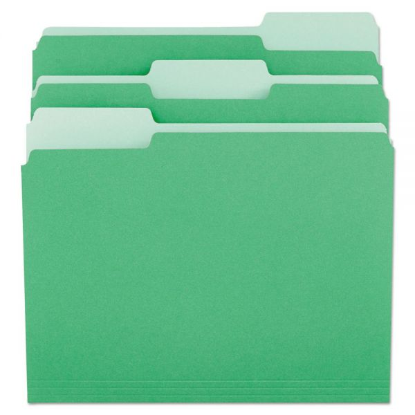 Universal File Folders, 1/3 Cut One-Ply Tab, Letter, Green/Light Green, 100/Box