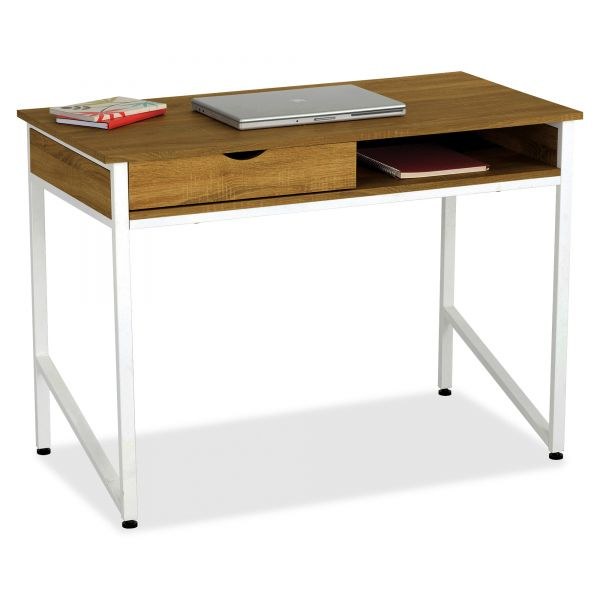 Safco Single Drawer Office Desk, 43 1/4 x 21 5/8 x 30 3/4, Beech/White
