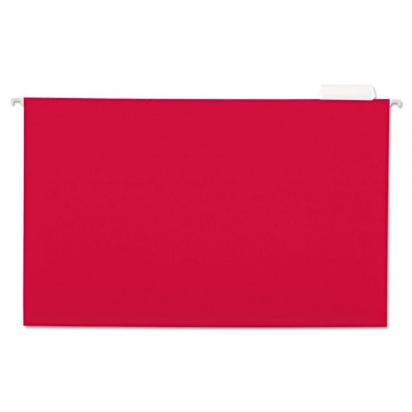 Universal Hanging File Folders, 1/5 Tab, 11 Point Stock, Legal, Red, 25/Box