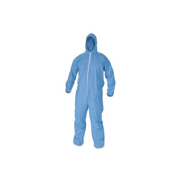 KleenGuard* A60 Elastic-Cuff, Ankles & Back Hooded Coveralls, Blue, 2X-Large, 24/Case