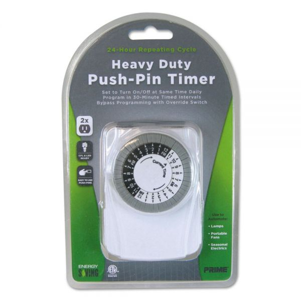 PRIME Heavy Duty Push-Pin Timer, 2 Outlets, 15 Amps, White